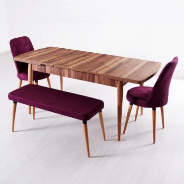 Evform Milla 2 Sandalye ve Bench Salon Mutfak Açılır Masa Sandalye Takımı - Mürdüm