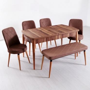 Evform Milla 4 Sandalye ve Bench Salon Mutfak Açılır Masa Sandalye Takımı - Kahve