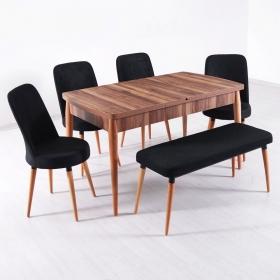 Evform Milla 4 Sandalye ve Bench Salon Mutfak Açılır Masa Sandalye Takımı - Renk Seçenekli - Siyah