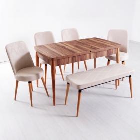 Evform Milla 4 Sandalye ve Bench Salon Mutfak Açılır Masa Sandalye Takımı - Renk Seçenekli - Krem