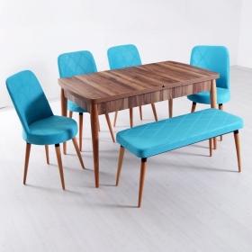 Evform Milla 4 Sandalye ve Bench Salon Mutfak Açılır Masa Sandalye Takımı - Renk Seçenekli - Turkuaz