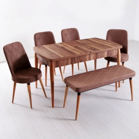 Evform Milla 4 Sandalye ve Bench Salon Mutfak Açılır Masa Sandalye Takımı - Renk Seçenekli - Kahve