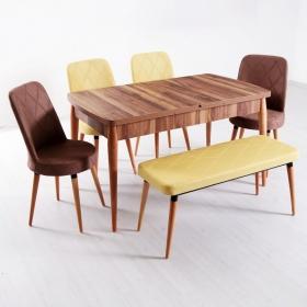 Evform Milla 4 Sandalye ve Bench Salon Mutfak Açılır Masa Sandalye Takımı - Renk Seçenekli - Özel Kombin