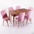 Evform Milla 6 Sandalye Salon Mutfak Açılır Masa Sandalye Takımı - Pudra Pembe
