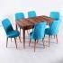 Evform Milla 6 Sandalye Salon Mutfak Açılır Masa Sandalye Takımı - Turkuaz