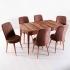 Evform Milla 6 Sandalye Salon Mutfak Açılır Masa Sandalye Takımı - Kahve