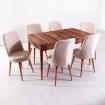 Evform Milla 6 Sandalye Salon Mutfak Açılır Masa Sandalye Takımı - Krem