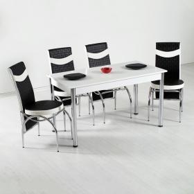 4 Kişilik Roma Masa Sandalye Mutfak Takımı Siyah