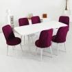Evform Milla 6 Sandalyeli Beyaz Salon Açılır Mutfak Masa Sandalye Takımı