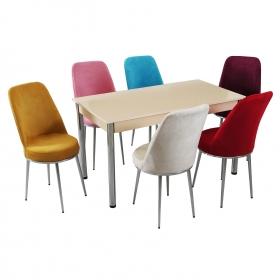 Evform Tiviza Eko 6 Kişilik Masa Kumaş Sandalye Krem Yemek Masası Takımı