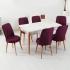 Evform Milla 6 Sandalyeli Kristal Beyaz Salon Açılır Mutfak Masa Sandalye Takımı