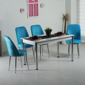 Evform Tiviza Eko 4 Kişilik Masa Kumaş Sandalye Yemek Masası Takımı