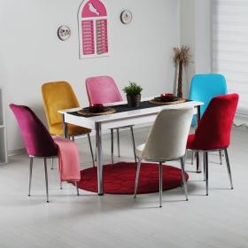 Evform Tiviza 6 Kişilik Taytüyü Sandalye Mutfak Masa Takımı