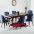 Louis Yakut 6 Kişilik Salon Masa Sandalye Takımı