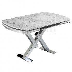 Mermer Desenli X Ayak Açılır Beyaz Mutfak Yemek Masası
