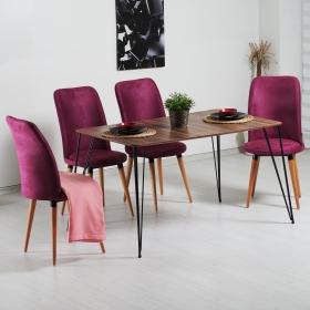 Evform Stork Taytüyü 4 Sandalyeli Tel Ayaklı Ceviz Masa Takımı