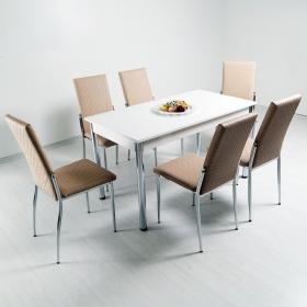 Favorite Hasır Desenli 6 Kişilik Mutfak Masa Sandalye Takımı