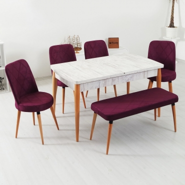 Evform Milla 4 Sandalye ve Bench Salon Mutfak Açılır Kristal Masa Takımı