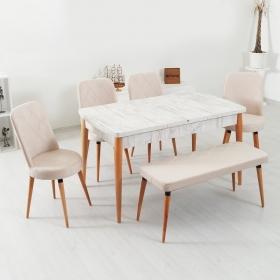 Evform Milla 4 Sandalye ve Bench Salon Mutfak Açılır Kristal Masa Takımı - Krem
