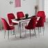 Evform Tiviza Eko 6 Kişilik Masa Kumaş Sandalye Yemek Masası Takımı