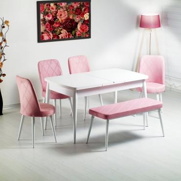 Evform Milla 4 Sandalye ve Bench Salon Mutfak Açılır Beyaz Masa Sandalye Takımı