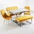 Taytüyü Kumaş Banklı Açılır Mermer Tip Masa Takımı - Renk Seçenekli