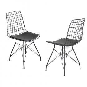 2 Adet Wire Tel Sandalye Mutfak Bahçe Ofis Sandalyesi - Siyah