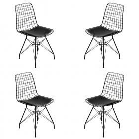 4 Adet Wire Tel Sandalye Mutfak Bahçe Ofis Sandalyesi - Siyah