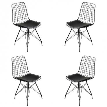 4 Adet Wire Tel Sandalye Mutfak Bahçe Ofis Sandalyesi