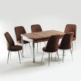 Baum 6 Kişilik Açılır Ahşap Masa Sandalye Takımı