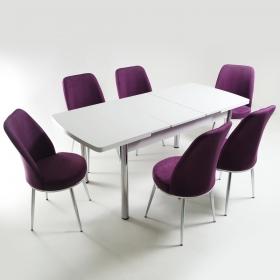 Baum 6 Kişilik Açılır Beyaz Ahşap Masa Sandalye Takımı