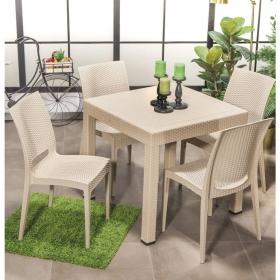 RATTAN 4 Kişilik Hasır Desenli Plastik Masa Sandalye Takımı