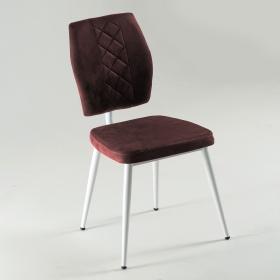 Vals Beyaz Ayaklı Kumaş Döşeme Mutfak Sandalyesi - Kahve