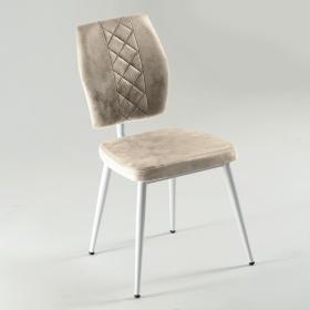 Vals Beyaz Ayaklı Kumaş Döşeme Mutfak Sandalyesi - Krem