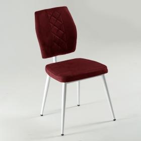 Vals Beyaz Ayaklı Kumaş Döşeme Mutfak Sandalyesi - Kırmızı