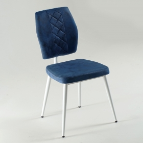 Vals Beyaz Ayaklı Kumaş Döşeme Mutfak Sandalyesi - Mavi