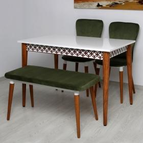 Quartetto 4 Kişilik Lüks Kumaş Masa Sandalye Takımı - Yeşil
