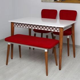 Quartetto 4 Kişilik Lüks Kumaş Masa Sandalye Takımı - Kırmızı