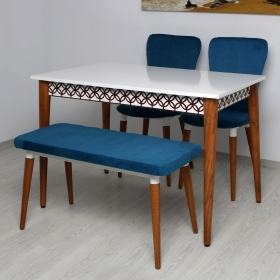 Quartetto 4 Kişilik Lüks Kumaş Masa Sandalye Takımı - Mavi