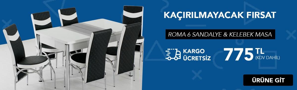 Roma Siyah Çizgili Masa Sandalye Takımı