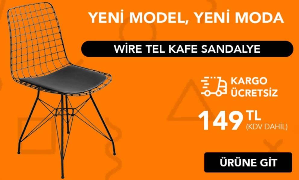 Wire Tel Kafes Sandalye
